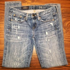 J Crew Distressed Toothpick Skinny Ankle Jeans 24